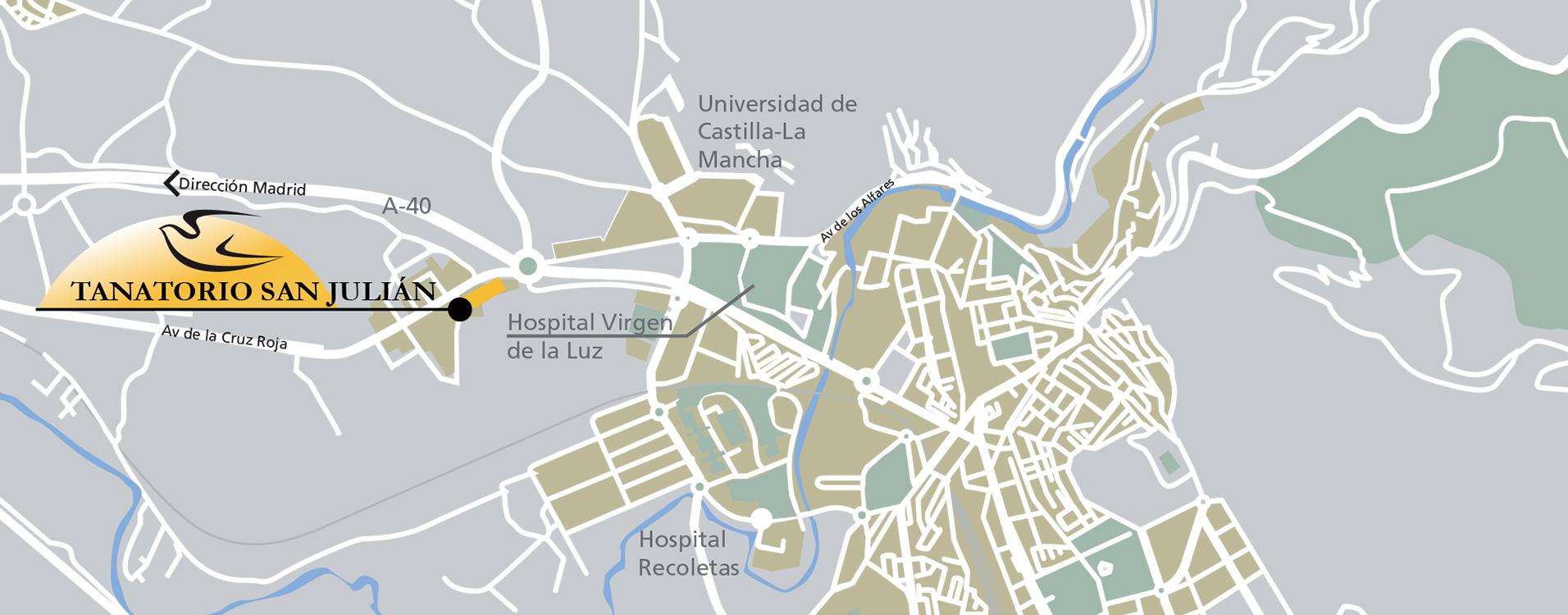 Localización de servicios funerarios en Cuenca. Tanatorio San Julián. Grupo Alborada